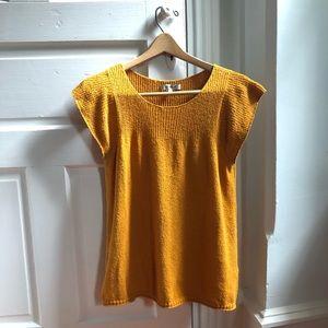 Madewell mustard textured top, short sleeve